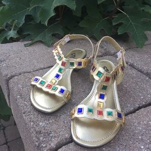 Shoes - Signals Vtg TStrap 60s Gold Jeweled Sandals 6W